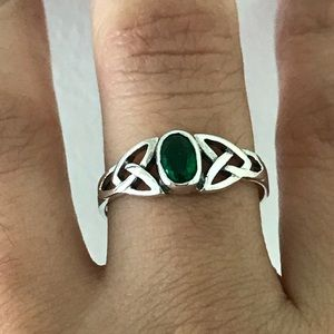 Jewelry - Sterling Silver Celtic Emerald Ring